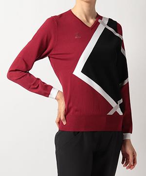 Vネックインターシャセーター